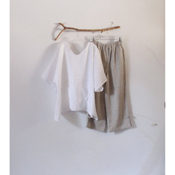 custom white linen top and pebble linen pants