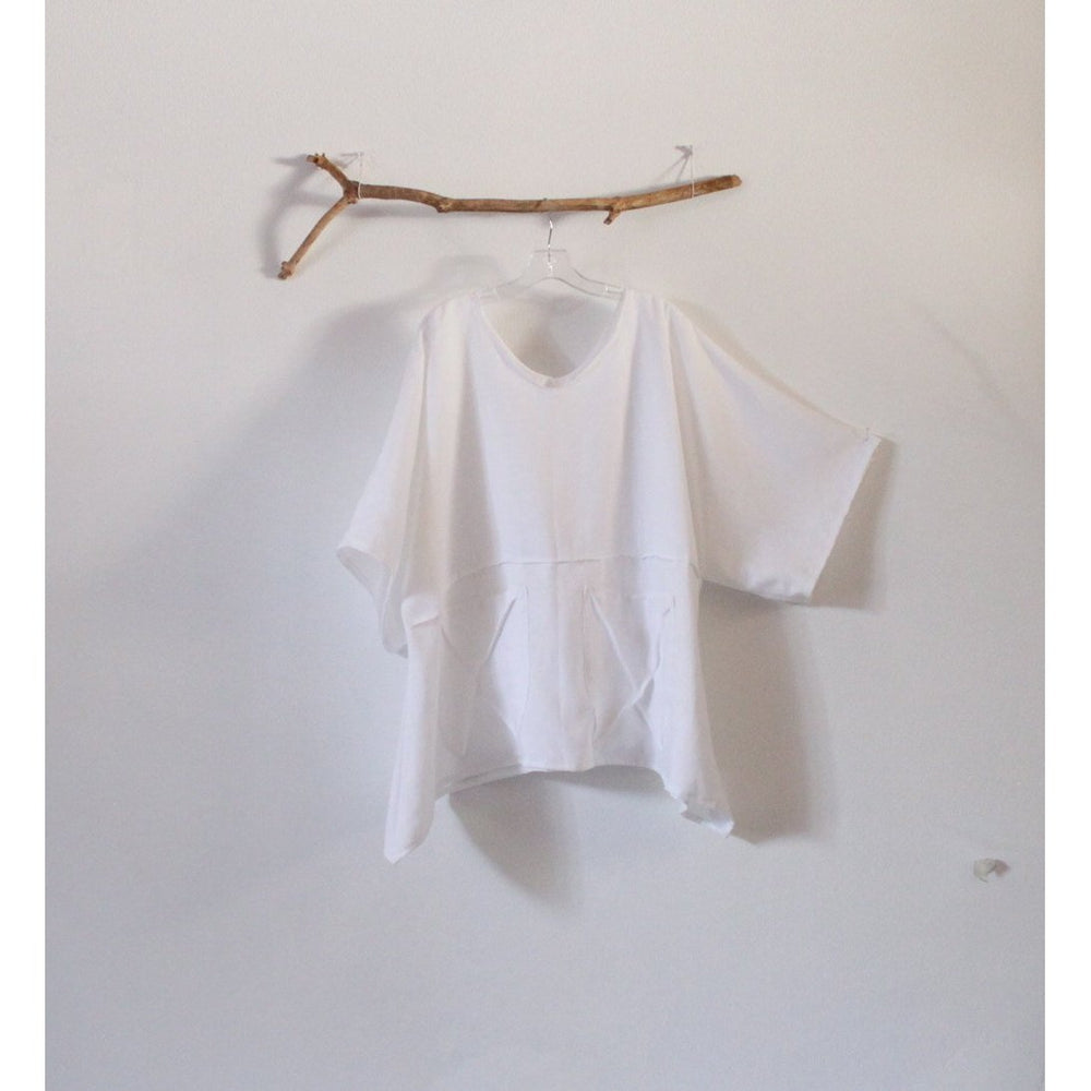 custom oversized eco linen top with big pockets - linen clothing by anny