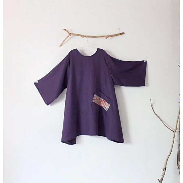 made to order linen tunic with large off kilter pocket - linen clothing by anny