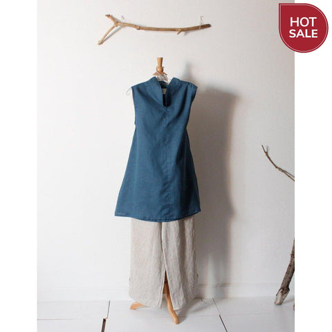 bonnot linen chipao collar tunic top size S or M ready to ship-tunic-linen clothing by anny