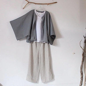 custom minimalist linen outfit three pieces-linen outfit-linen clothing by anny