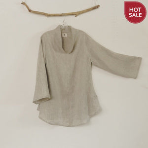 Mix linen frog toggle Asian blouse ready to wear