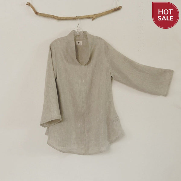 sold /Mix linen frog toggle Asian blouse ready to wear - linen clothing by anny