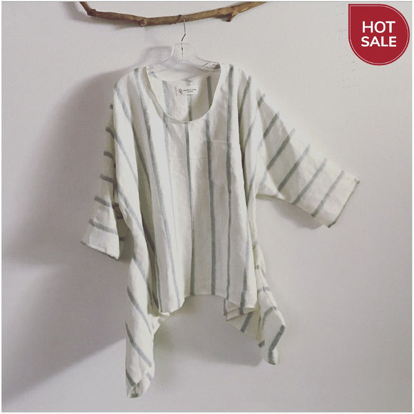made to order oversized lagenlook stripy soft linen top