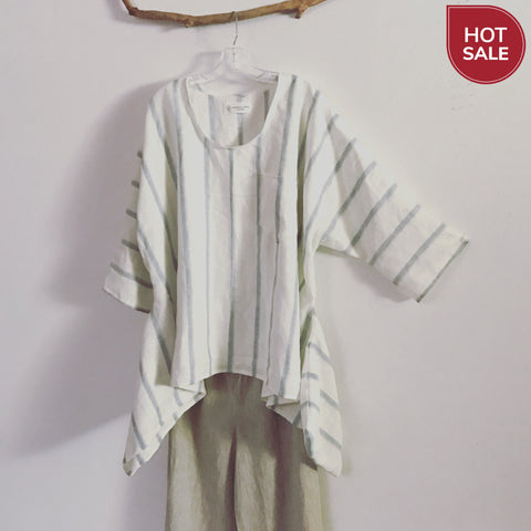 made to order oversized lagenlook stripy soft linen top - linen clothing by anny