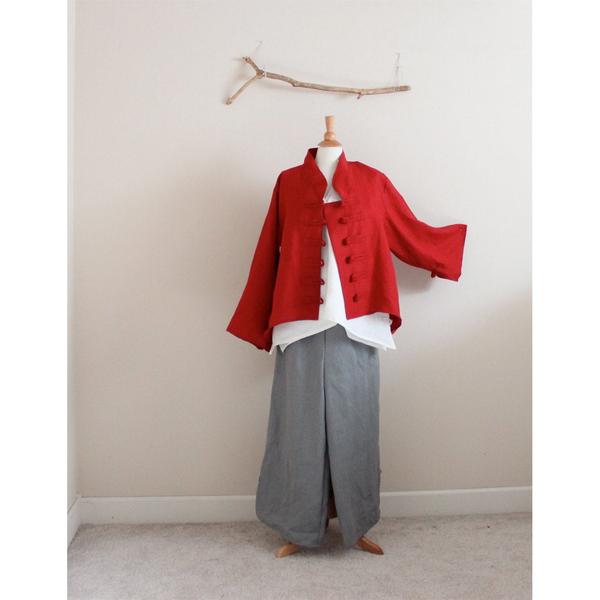 custom linen jacket, top and pants - linen clothing by anny