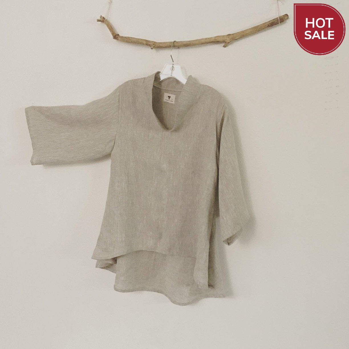 Mix linen wavy end blouse ready to wear - linen clothing by anny