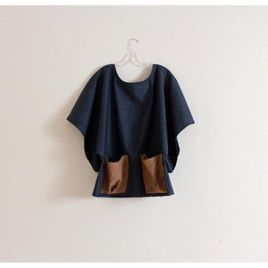 custom denim wide kimono sleeve top with big linen pockets made to order
