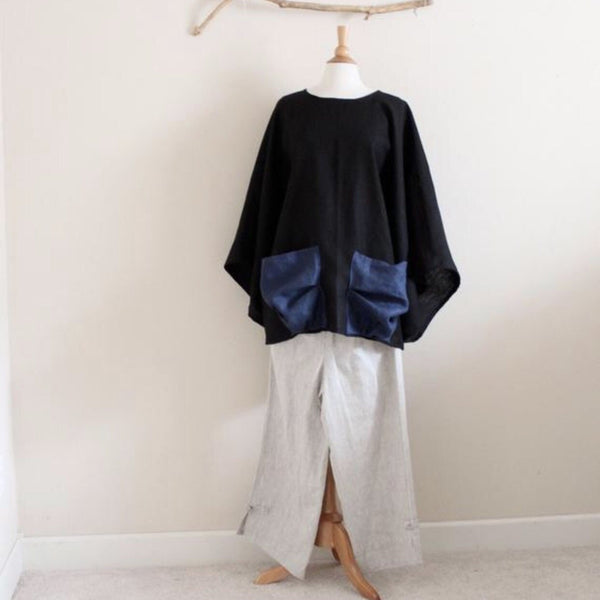 oversized heavy linen wide kimono sleeve top crunched pockets - linen clothing by anny