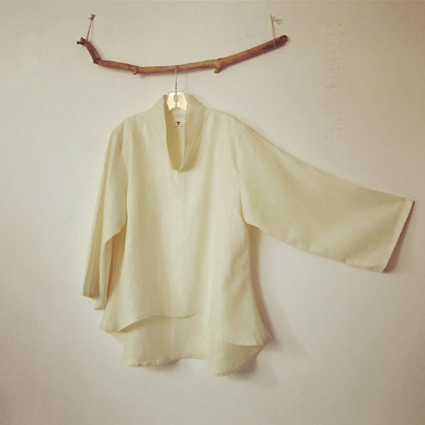 Made to order size XS to 6XL chipao collar linen wavy blouse