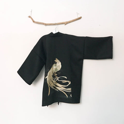 collectable black melton wool hoari style jacket with golden phoenix embroidery silk kimono motif