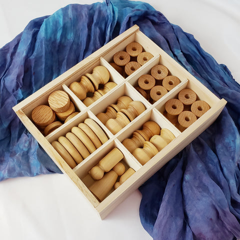 54 Piece Wood Loose Parts Tinker Tray Kit