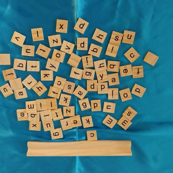 60 Letter Tiles and Holder - Imaginations Unbound