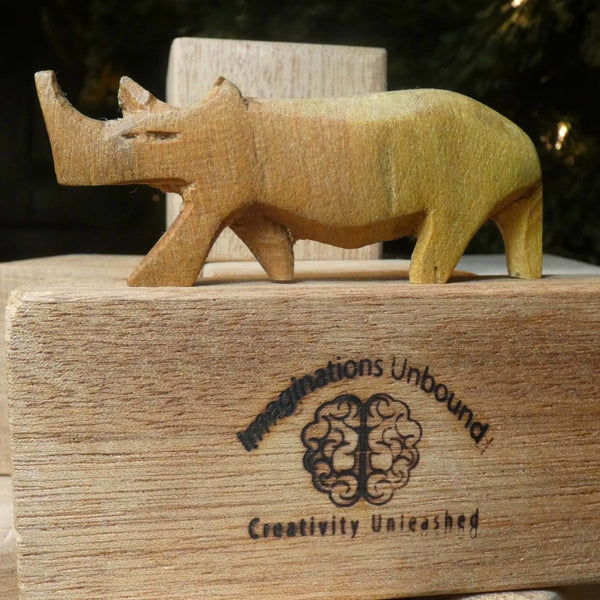 Collection of Six Hand Carved Fair Trade Animas (Elephant, Zebra, Rhino, Gazelle, Leopard, and Giraffe} - Imaginations Unbound
