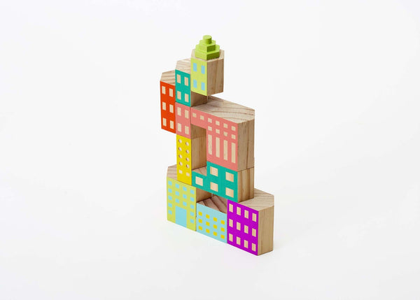 Deco Blockitecture Wood Building Block Set blocks Imaginations Unbound