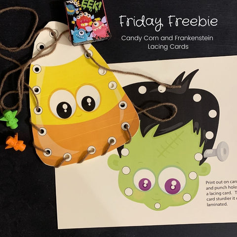 Friday Freebie - Frankenstien and Candy Corn Lacing Card Printable - Imaginations Unbound