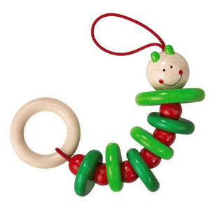HABA Rattling Caterpillar Wood Rattle - Imaginations Unbound