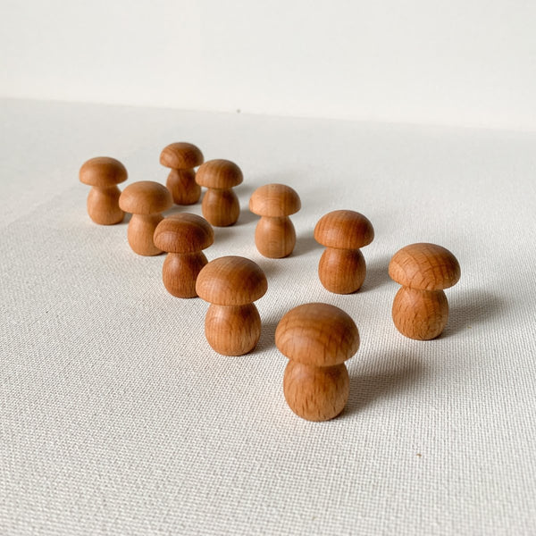 Miniature Wood Mushroom Tong and Scoop Montessori Inspired Playset - Imaginations Unbound
