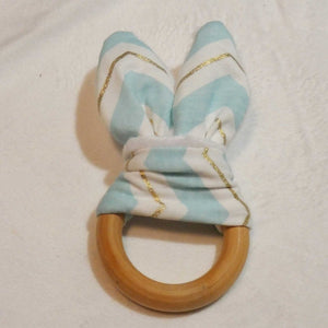 Natural Wood Rabbit Ear Teething Ring -Blue with Gold Chevron - Imaginations Unbound