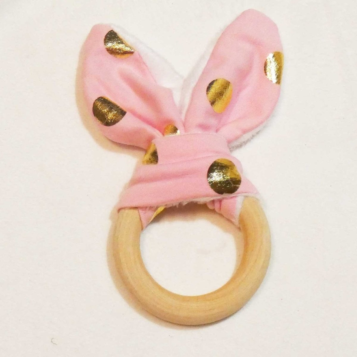 Natural Wood Rabbit Ear Teething Ring -Pink with Gold Dots - Imaginations Unbound