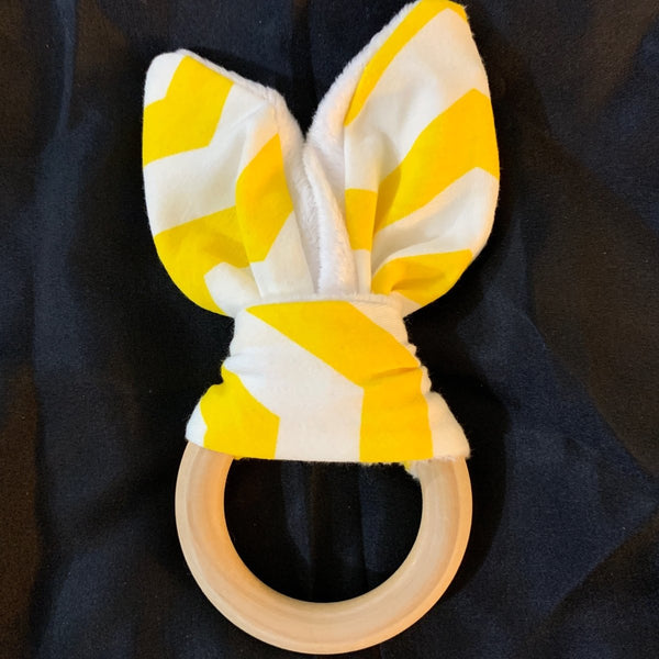 Natural Wood Rabbit Ear Teething Ring -Yellow Chevron - Imaginations Unbound