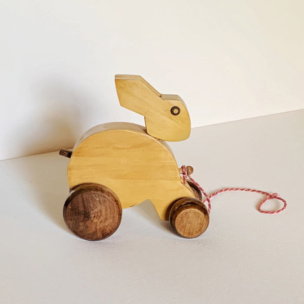 Rabbitt On Wheels Wood Pull Toy - Imaginations Unbound