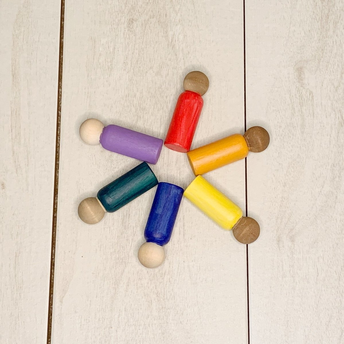 Rainbow Set of Peg Dolls - 3.5 inches - Imaginations Unbound