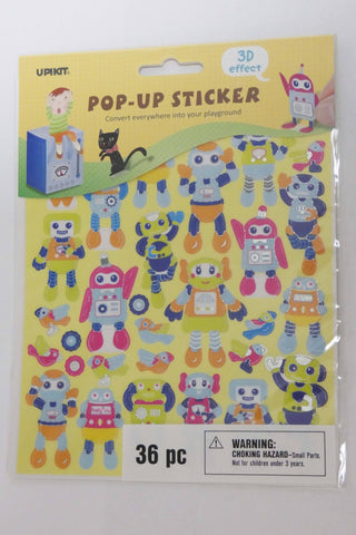 Robot Pop-Up Stickers 36 pieces art and craft supplies Darice