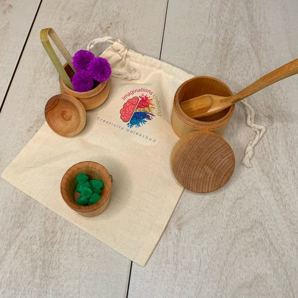 Sensory Bin Bowls Scoop Tongs PomPom Loose Parts Play Set - Imaginations Unbound