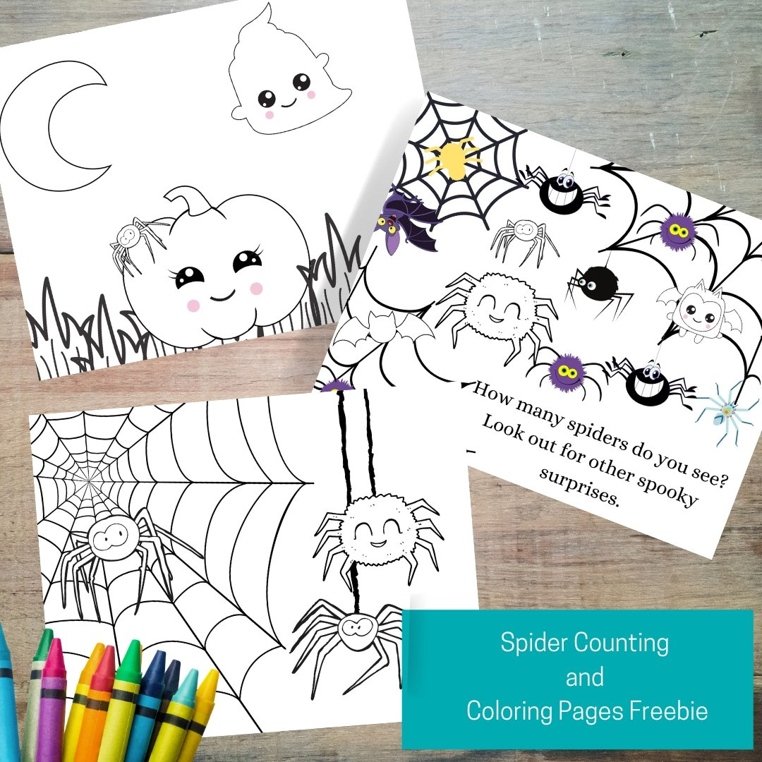 Silly Spider Counting and Coloring Page Freebie - Imaginations Unbound