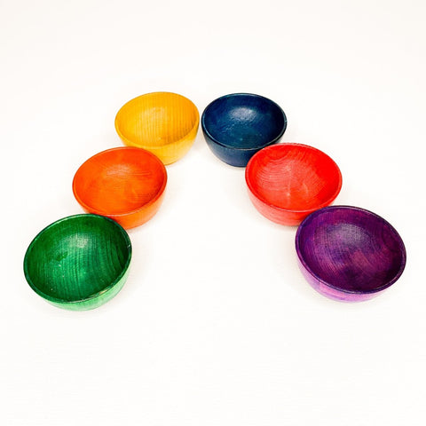 Six Montessori and Waldorf Inspired Mini Rainbow Stacking Bowls - Imaginations Unbound
