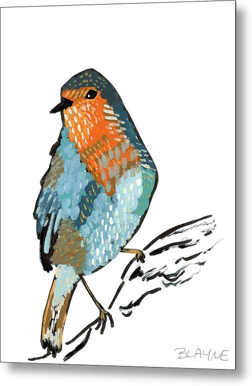 Orange And Blue Bird - Metal Print