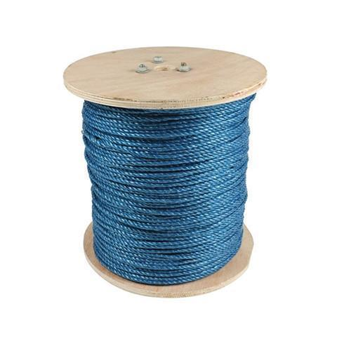 Blue Polypropylene Rope on a Wooden Drum