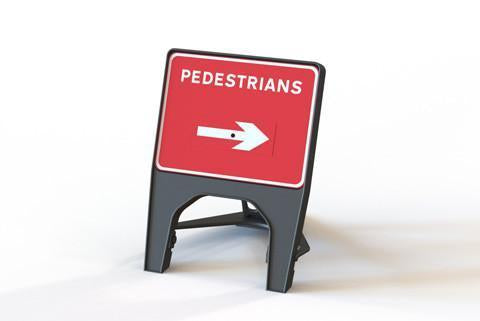 Plastic Road Sign - Pedestrians Swivel Arrow