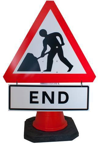 Plastic Cone Signs: Men At Work End