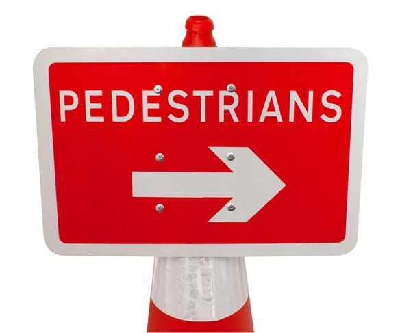 Plastic Cone Signs: Pedestrians Arrow Right