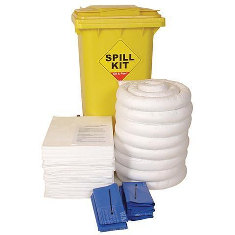 120L Spill Kit in a Yellow Wheeled Bin