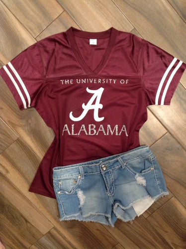 University of Alabama Inspired Glitter Jersey