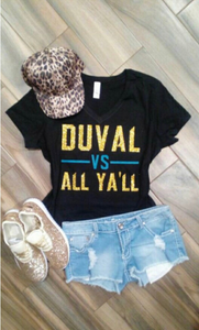 Jacksonville Jaguars Duval vs All Yall - Black Tee
