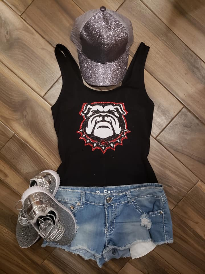 Georgia Bulldog Glitter Top