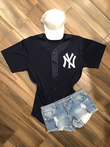 New York Yankees Inspired Baseball Jersey - Navy