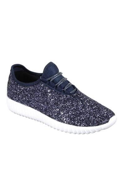 Navy Blue Glitter Glam Sneakers