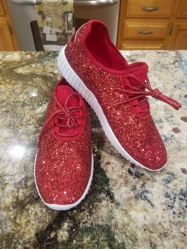 Red Glitter Glam Sneakers