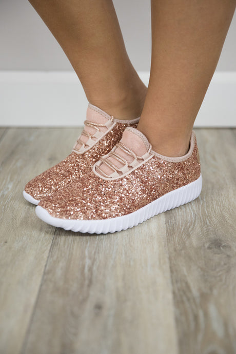 Rose Gold Glitter Glam Sneakers