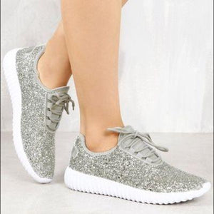 Silver Glitter Glam Sneakers
