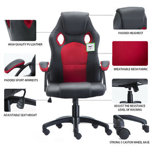 Swivel Office Racing Sport Gaming Tilt Leather Mesh Home Computer Desk Chair