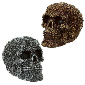 Steampunk Nuts Bolts & Cogs Skull Ornament ~ Cyber Gothic