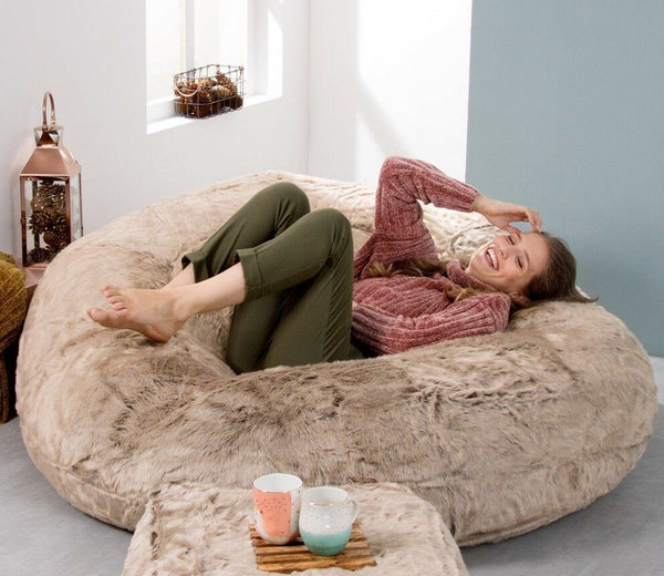 Extra Large Faux Fur Bean Bag - Love Seat Sofa - Two Seater Beanbag MINK BROWN