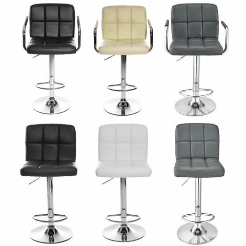 Bar Stool Set Faux Leather Kitchen Stool Breakfast Chair Chrome Modern Furniture
