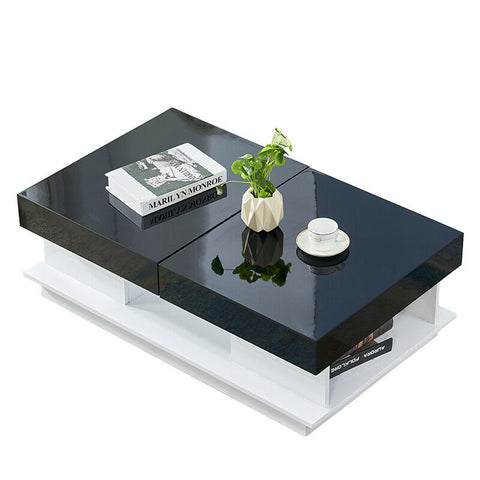 Black White Coffee Table Side End Table with Storage Hidden Drawers Living Room